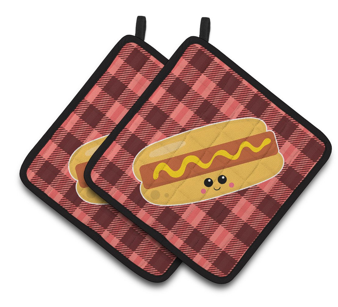 Buy this Hot Dog Face Pair of Pot Holders BB7045PTHD