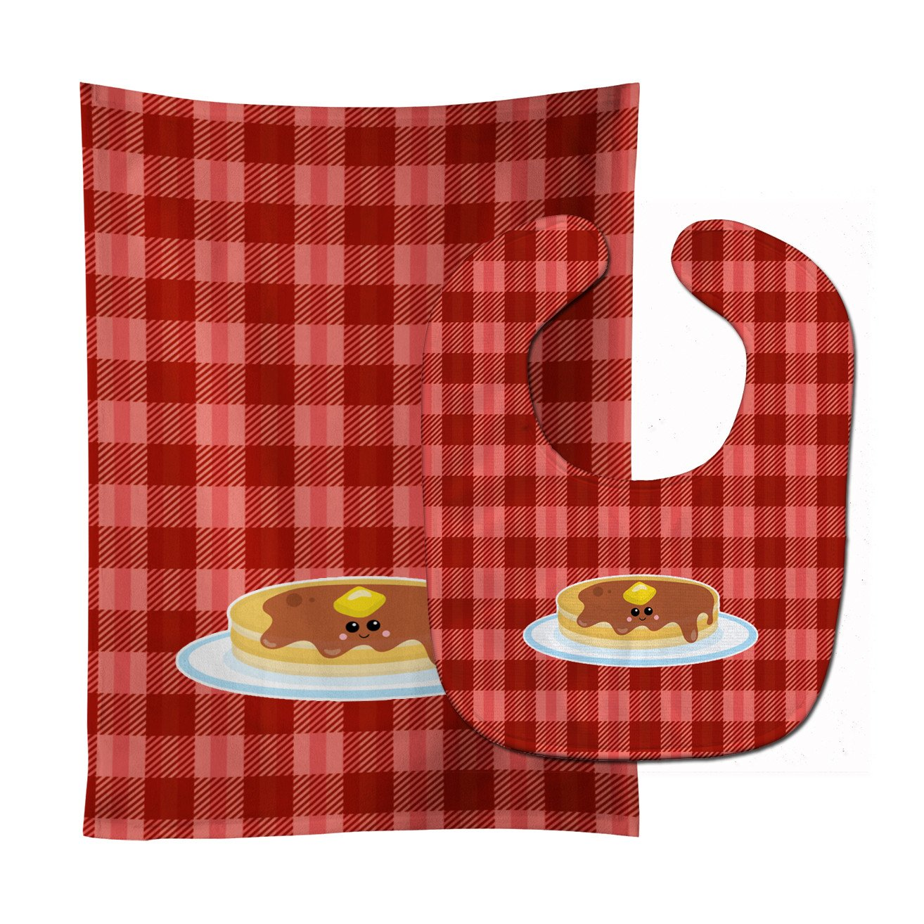 Pancake Face Baby Bib & Burp Cloth BB7049STBU by Caroline's Treasures