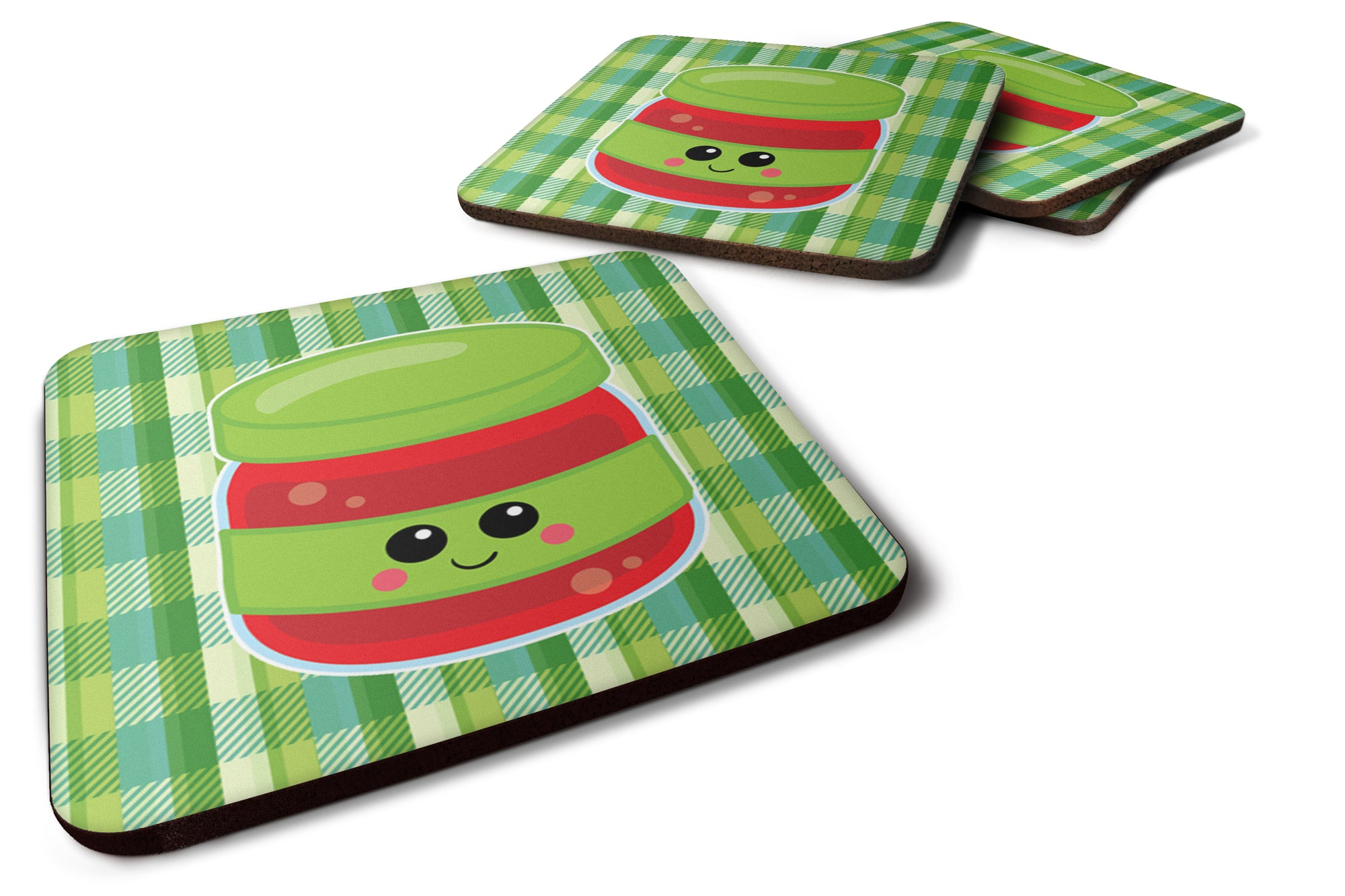 Jelly Jar Face Foam Coaster Set of 4 BB7051FC by Caroline's Treasures