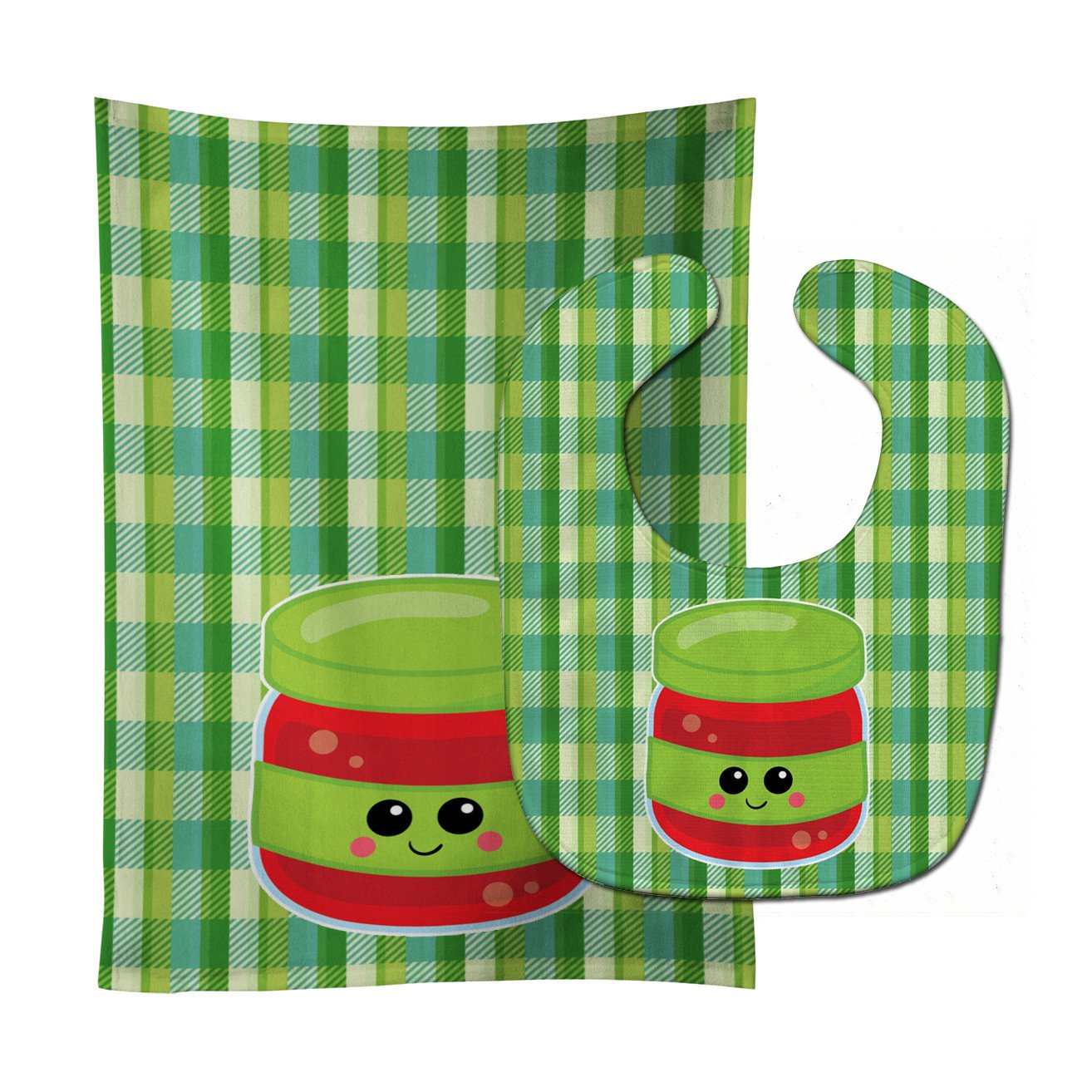Jelly Jar Face Baby Bib & Burp Cloth BB7051STBU by Caroline's Treasures