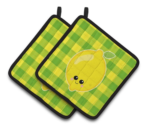 Buy this Lemon Face Pair of Pot Holders BB7055PTHD