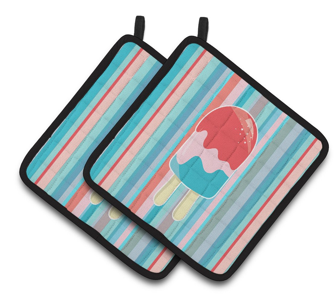 Ice Pop Popsicle Red Pink Blue Pair of Pot Holders BB7062PTHD by Caroline's Treasures