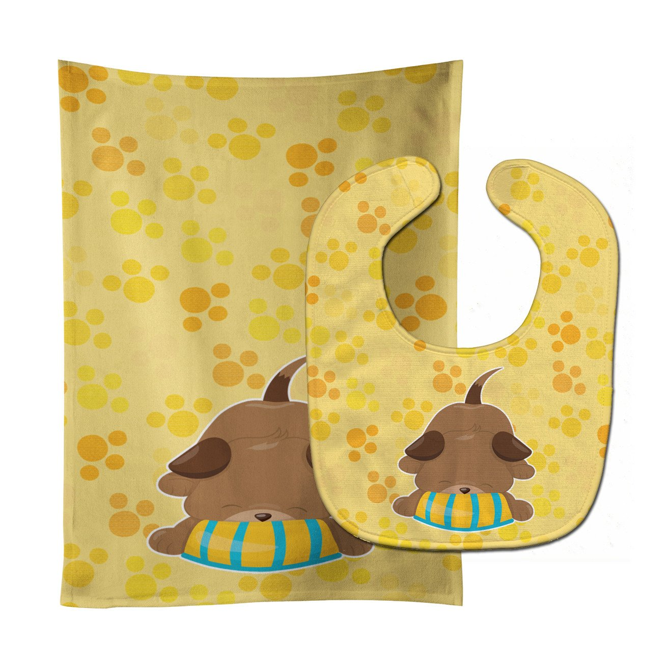 Buy this Puppy on Yellow Pawprints Baby Bib & Burp Cloth BB7076STBU