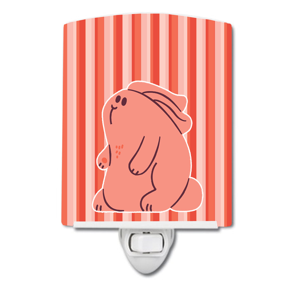 Rabbit on Pink Stripes Ceramic Night Light BB7080CNL by Caroline's Treasures