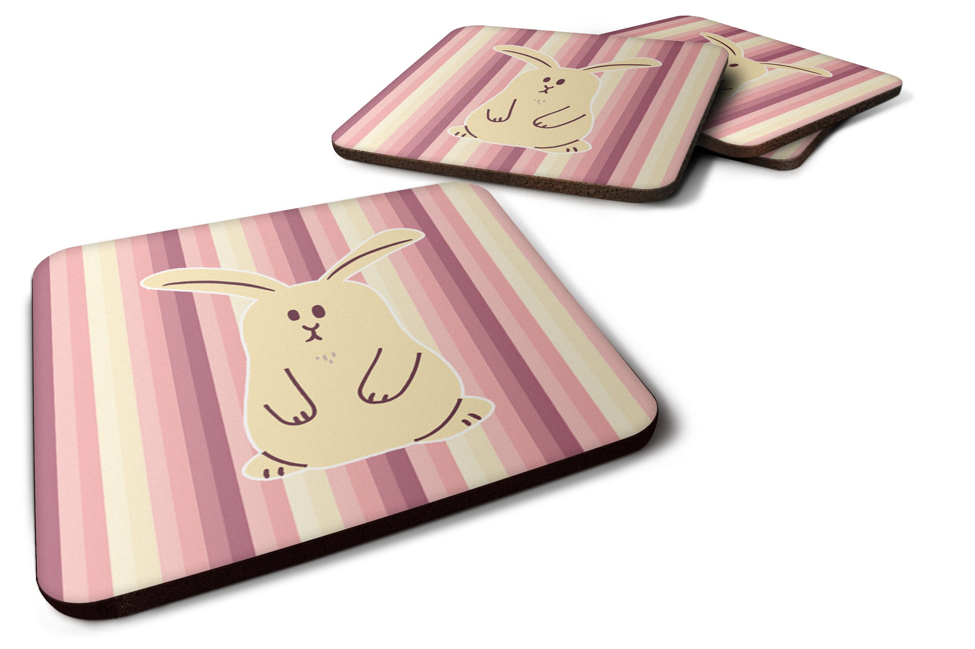 Rabbit on Stripes Foam Coaster Set of 4 BB7084FC by Caroline's Treasures