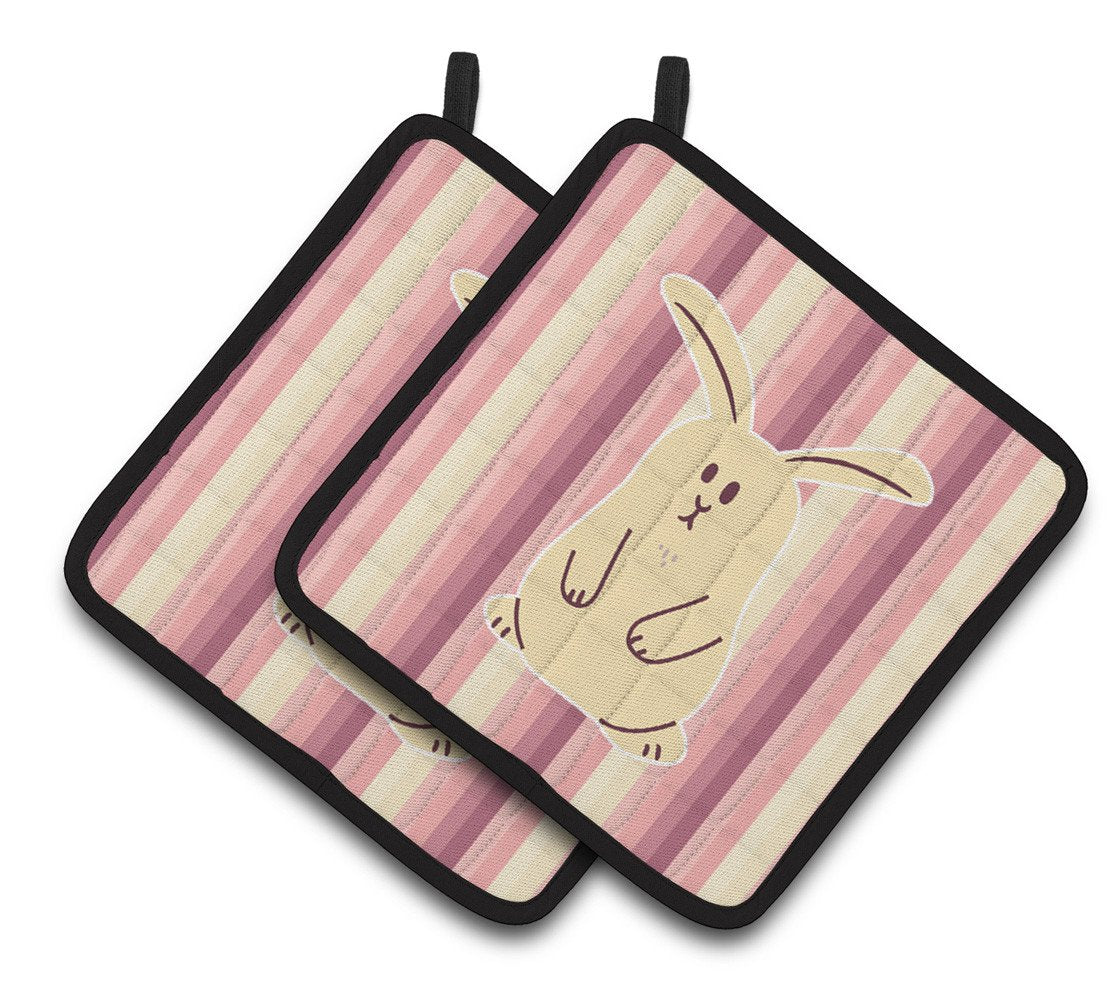 Rabbit on Stripes Pair of Pot Holders BB7084PTHD by Caroline's Treasures