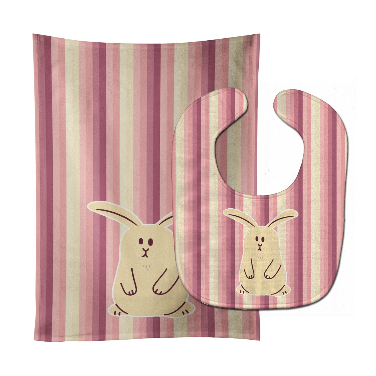 Rabbit on Stripes Baby Bib & Burp Cloth BB7084STBU by Caroline's Treasures