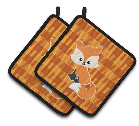 Buy this Baby Fox Gingham Pair of Pot Holders BB7087PTHD