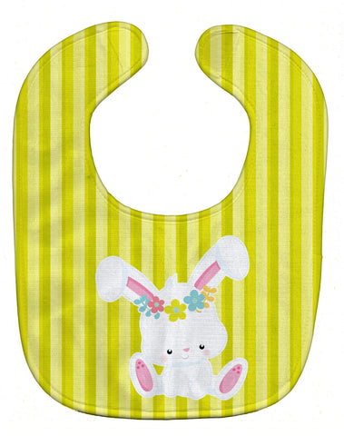 Buy this Easter White Rabbit with Flowers Baby Bib BB7093BIB
