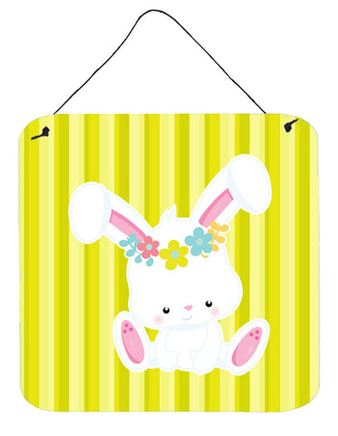 Buy this Easter White Rabbit with Flowers Wall or Door Hanging Prints BB7093DS66