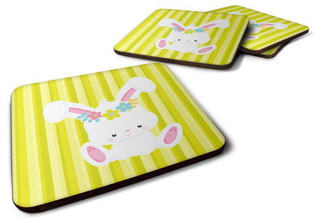 Buy this Easter White Rabbit with Flowers Foam Coaster Set of 4 BB7093FC