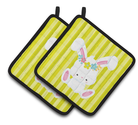 Buy this Easter White Rabbit with Flowers Pair of Pot Holders BB7093PTHD