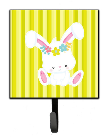 Buy this Easter White Rabbit with Flowers Leash or Key Holder BB7093SH4