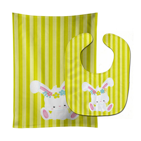 Buy this Easter White Rabbit with Flowers Baby Bib & Burp Cloth BB7093STBU