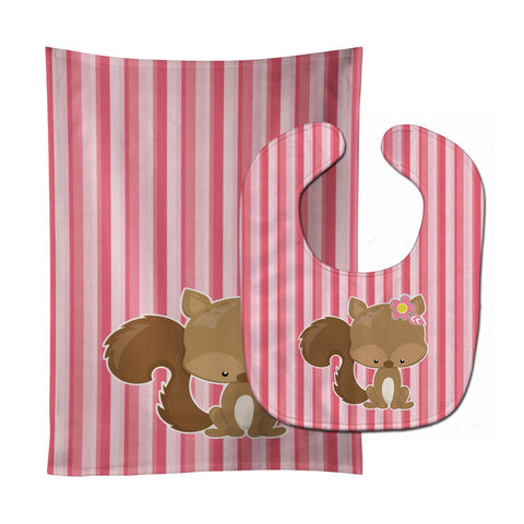 Buy this Squirrel with Flowers Baby Bib & Burp Cloth BB7094STBU