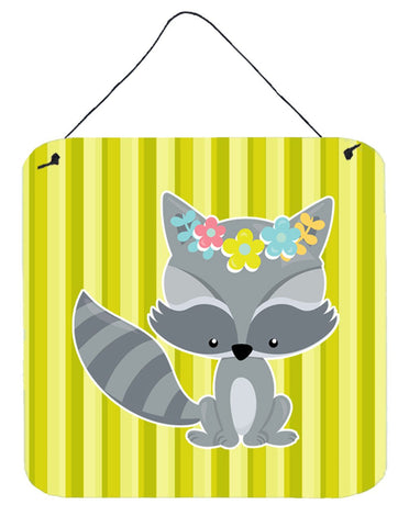 Buy this Raccoon with Flowers Wall or Door Hanging Prints BB7095DS66