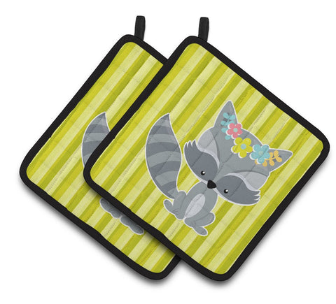 Buy this Raccoon with Flowers Pair of Pot Holders BB7095PTHD