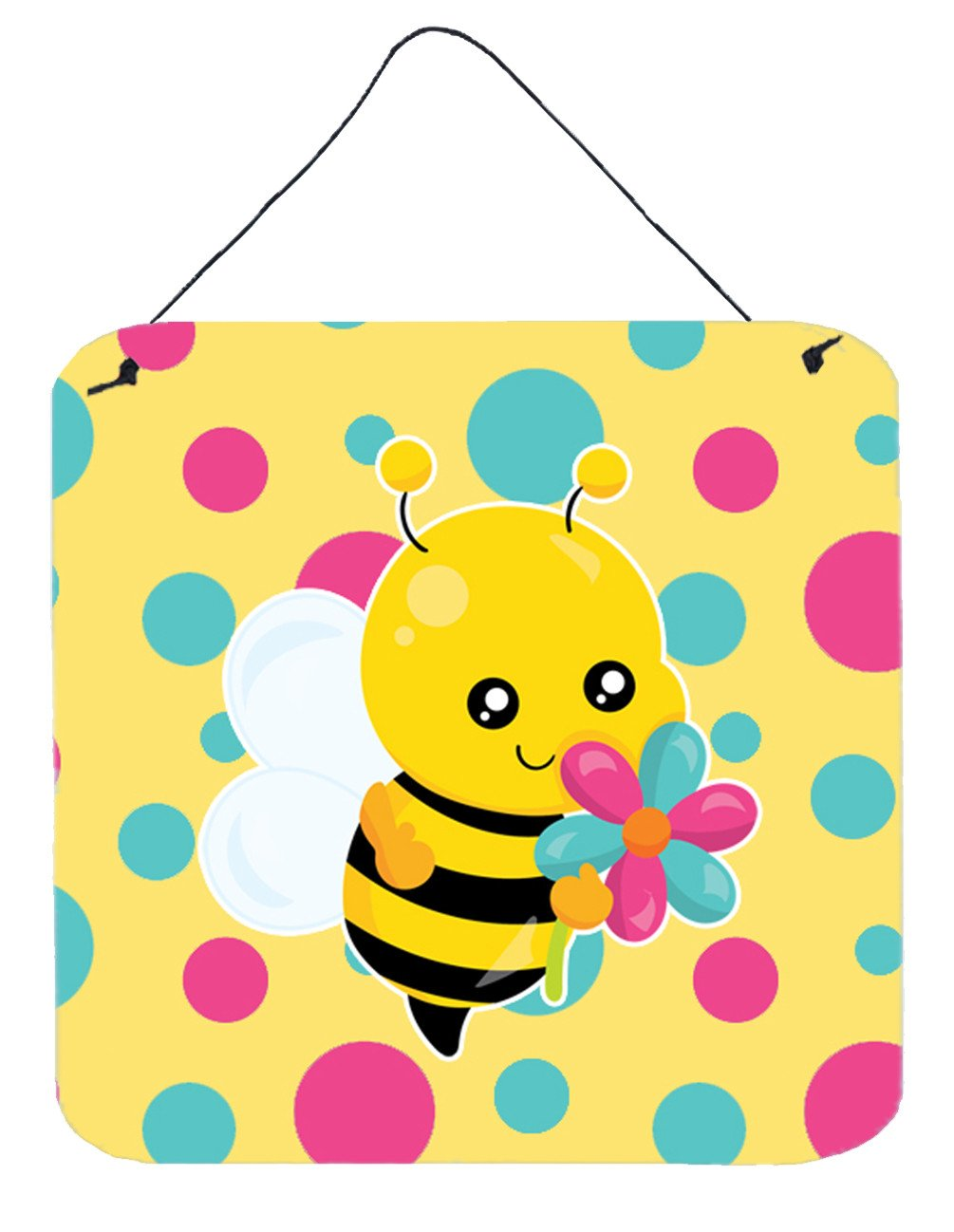Bee with Flower Wall or Door Hanging Prints BB7097DS66 by Caroline's Treasures