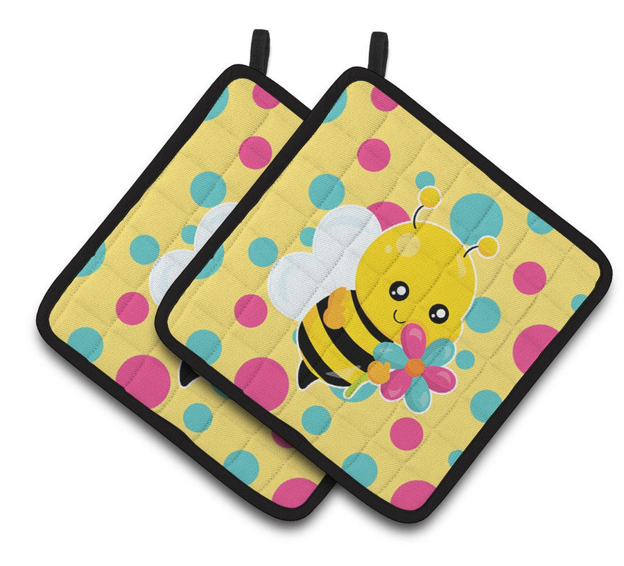 Buy this Bee with Flower Pair of Pot Holders BB7097PTHD