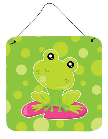 Buy this Frog on Lily Pad Green Polkadots Wall or Door Hanging Prints BB7098DS66