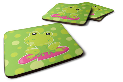 Buy this Frog on Lily Pad Green Polkadots Foam Coaster Set of 4 BB7098FC