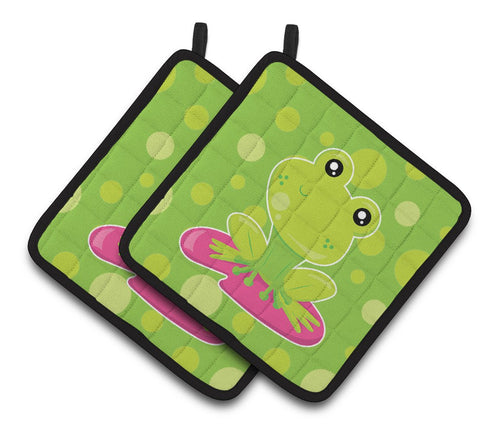 Buy this Frog on Lily Pad Green Polkadots Pair of Pot Holders BB7098PTHD