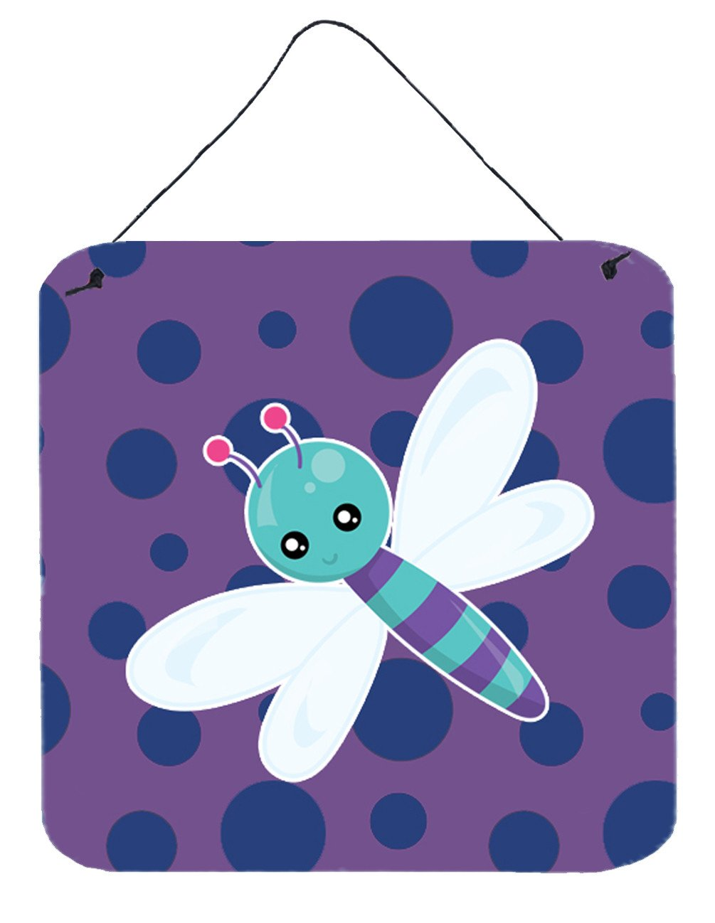 Dragonfly on Purple Polkadots Wall or Door Hanging Prints BB7099DS66 by Caroline's Treasures