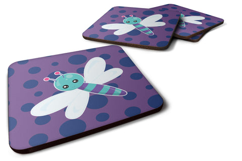 Buy this Dragonfly on Purple Polkadots Foam Coaster Set of 4 BB7099FC