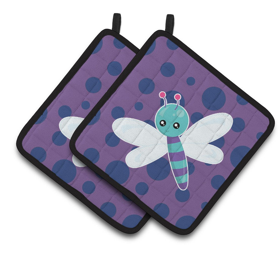 Dragonfly on Purple Polkadots Pair of Pot Holders BB7099PTHD by Caroline's Treasures