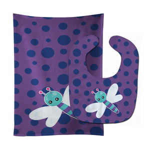 Buy this Dragonfly on Purple Polkadots Baby Bib & Burp Cloth