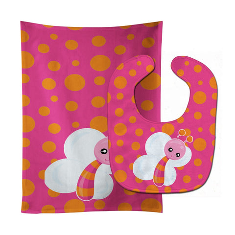 Buy this Butterfly on Polkadots Baby Bib & Burp Cloth BB7102STBU