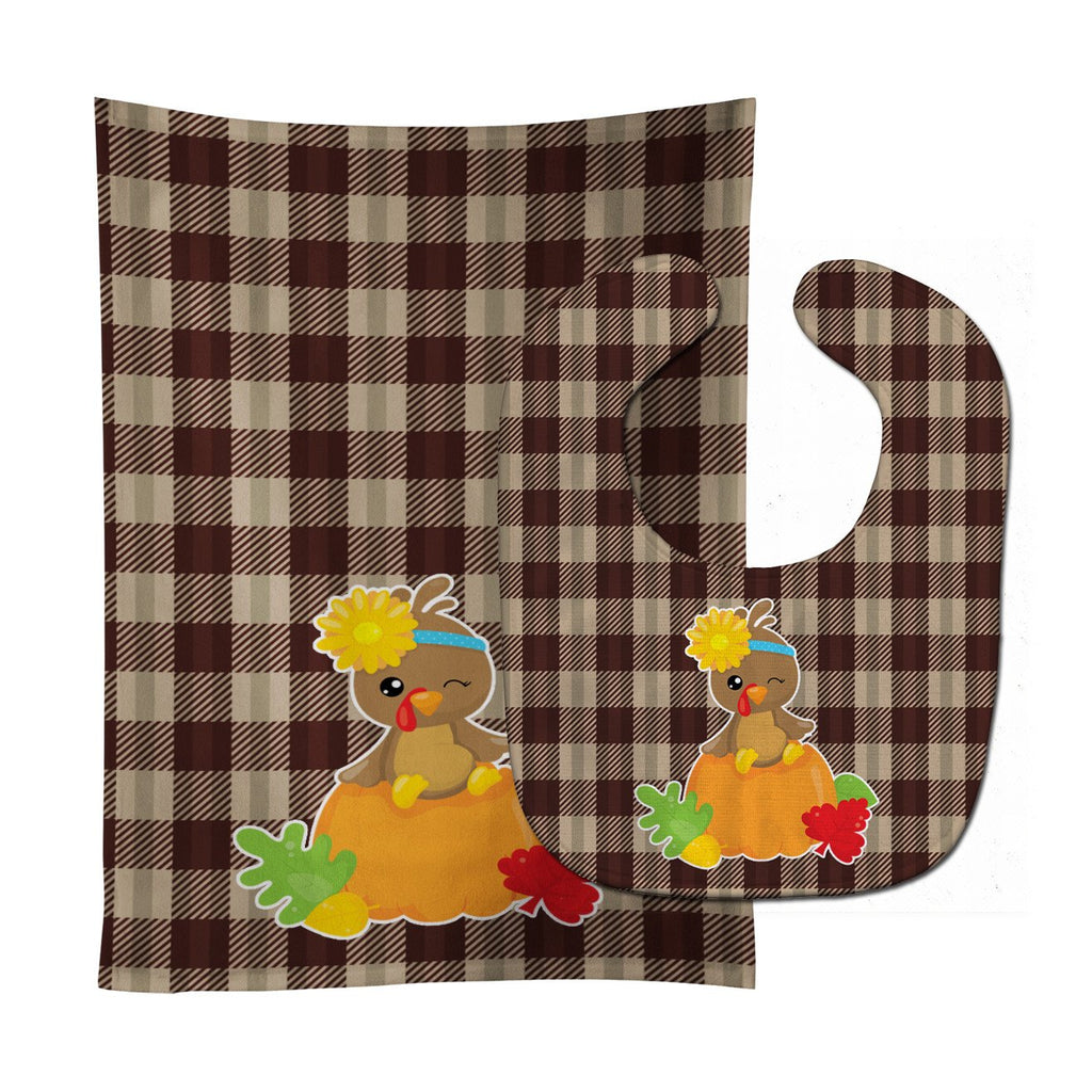 Buy this Thanksgiving Baby Turkey Baby Bib & Burp Cloth BB7113STBU