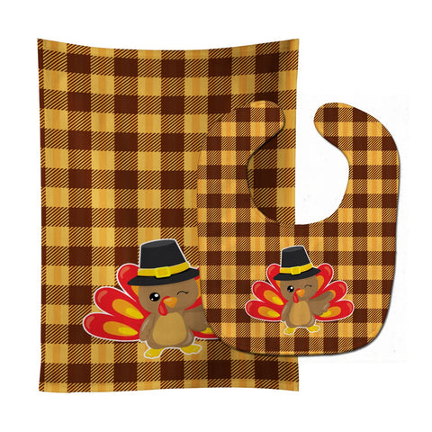 Buy this Thanksgiving Turkey Wink Baby Bib & Burp Cloth BB7114STBU