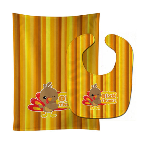 Buy this Thanksgiving Turkey Give Thanks Baby Bib & Burp Cloth BB7115STBU