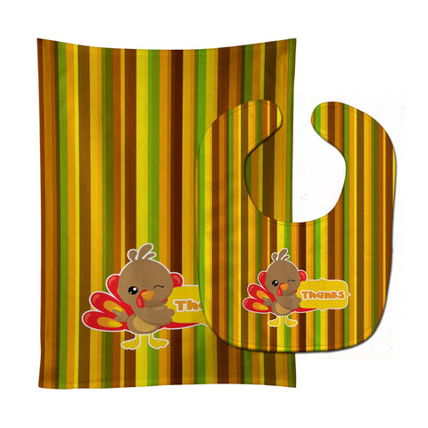 Buy this Thanksgiving Turkey Thanks Baby Bib & Burp Cloth BB7116STBU