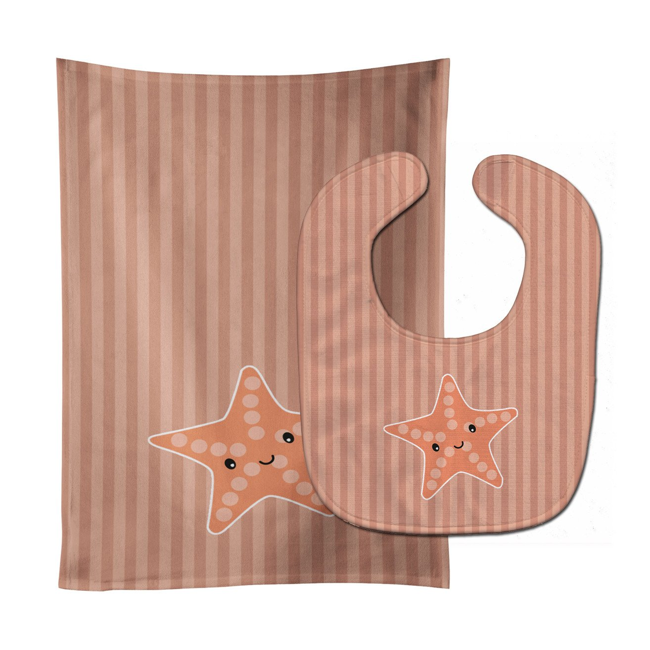 Starfish Baby Bib & Burp Cloth BB7126STBU by Caroline's Treasures