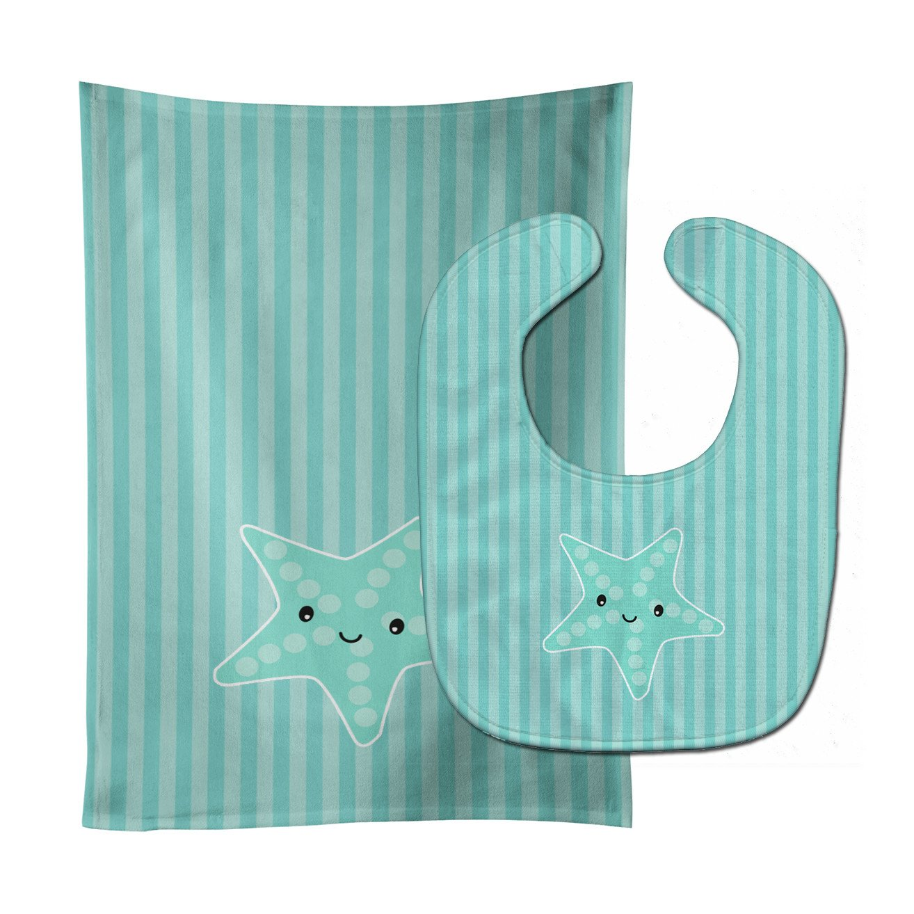 Starfish Baby Bib & Burp Cloth BB7127STBU by Caroline's Treasures
