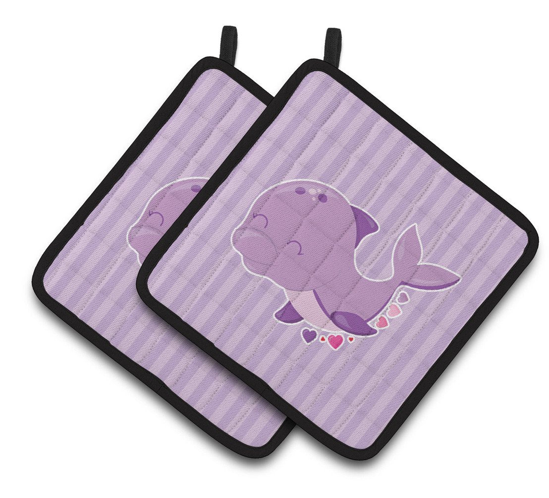 Buy this Purple Dolphin Pair of Pot Holders BB7132PTHD