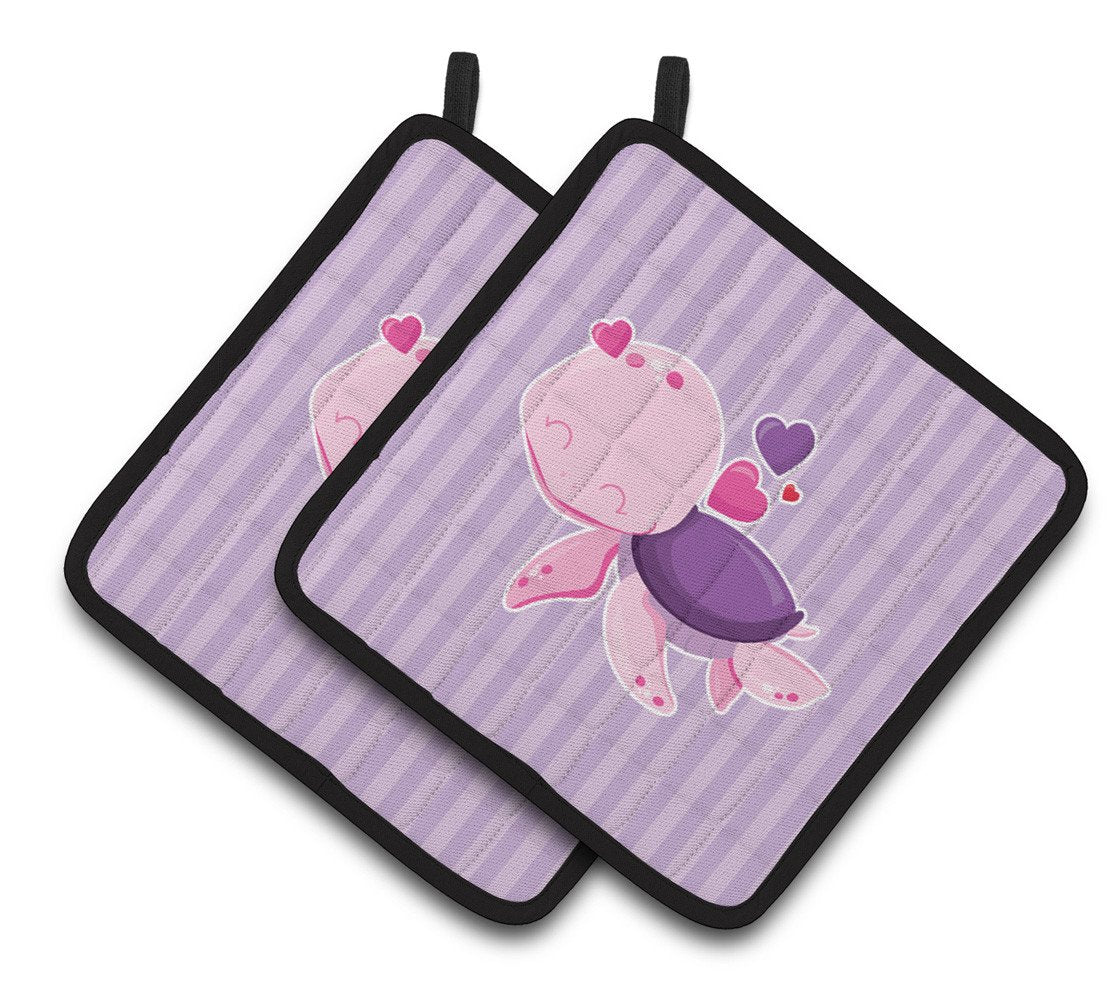 Pink and Purple Turtle Pair of Pot Holders BB7133PTHD by Caroline's Treasures