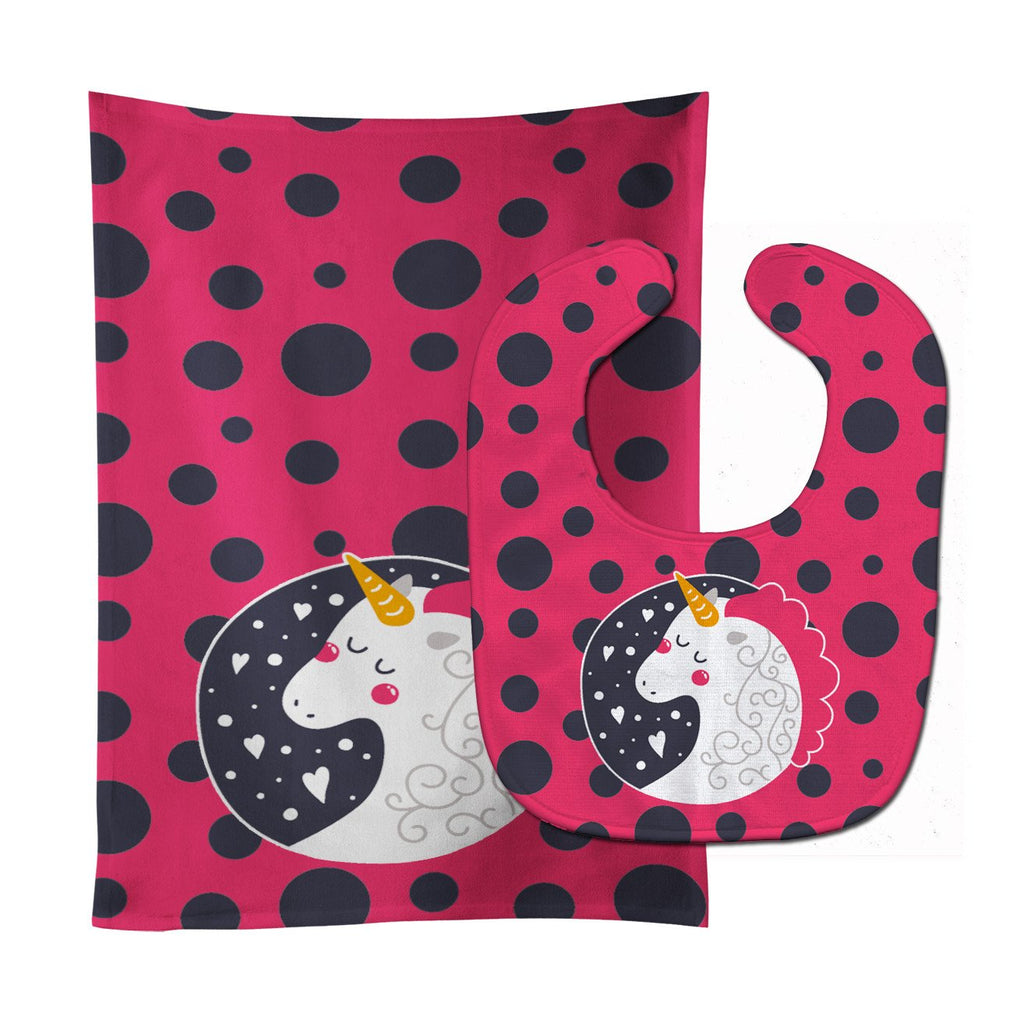 Buy this Unicorn Pink Polkadots Baby Bib & Burp Cloth BB7136STBU