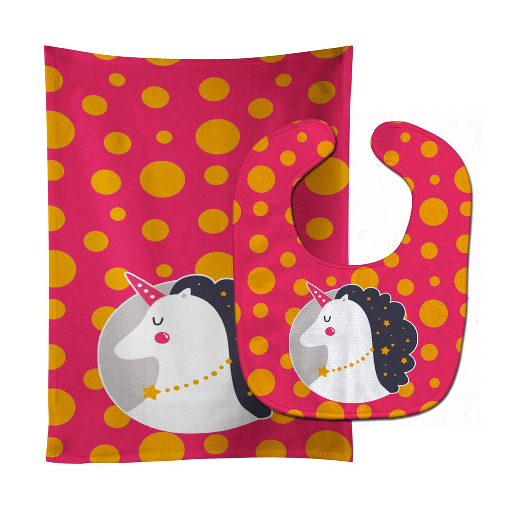 Buy this Unicorn Orange Polkadots Baby Bib & Burp Cloth BB7138STBU