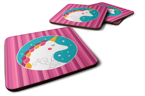 Buy this Unicorn Pink Stripes Foam Coaster Set of 4 BB7139FC