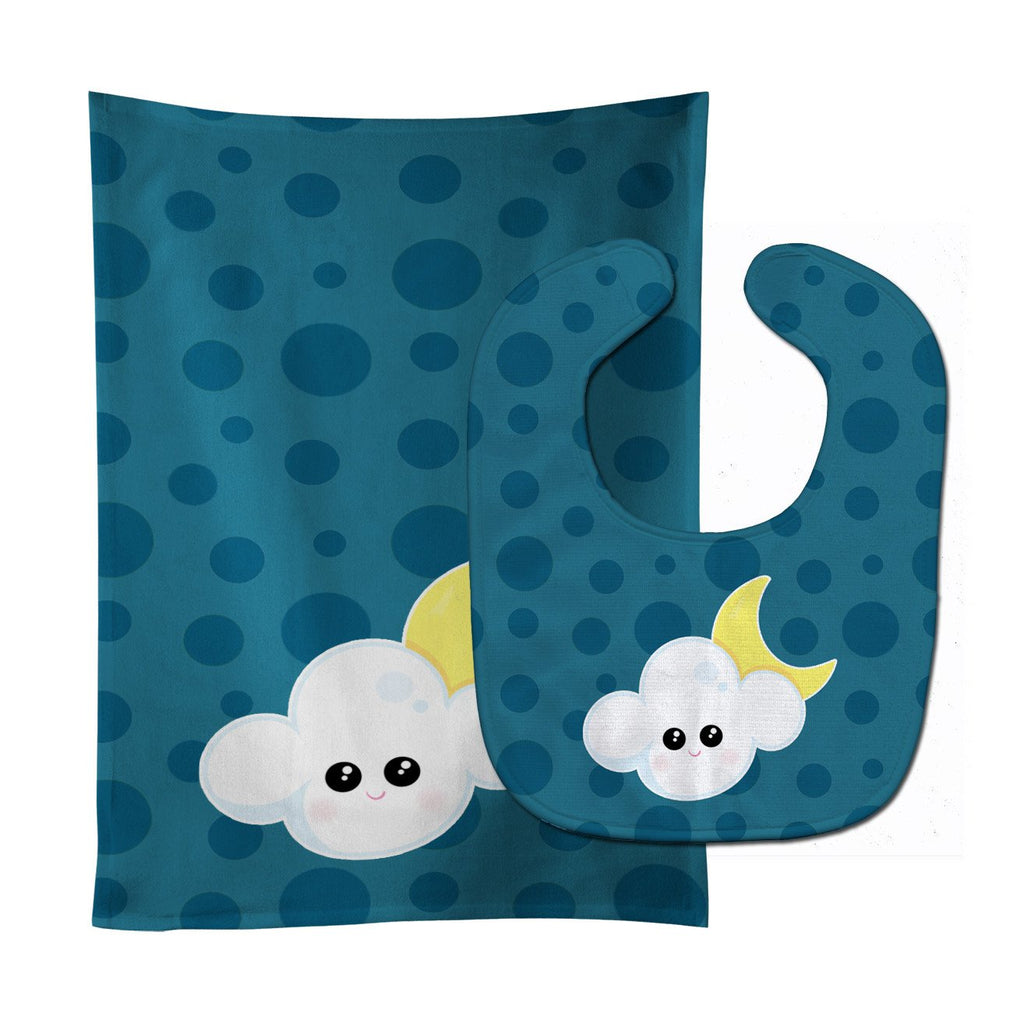 Buy this Weather Cloudy Moon Face Baby Bib & Burp Cloth BB7154STBU