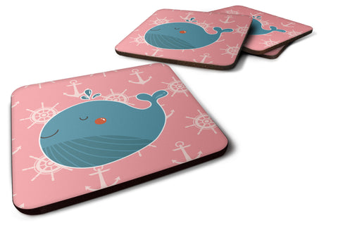 Buy this Whale on Pink Nautical Foam Coaster Set of 4 BB7160FC