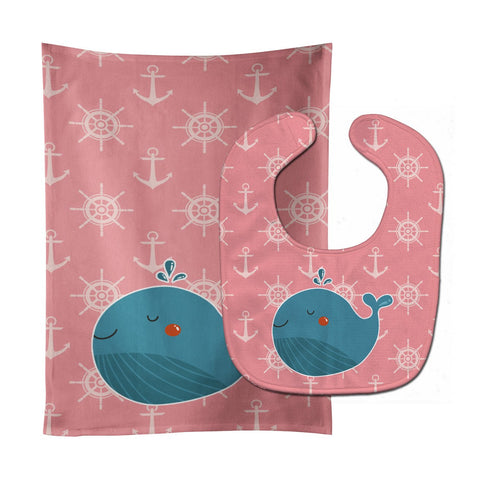 Buy this Whale on Pink Nautical Baby Bib & Burp Cloth BB7160STBU
