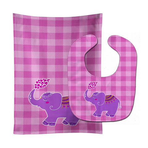 Buy this Purple Elephant Baby Bib & Burp Cloth BB7161STBU