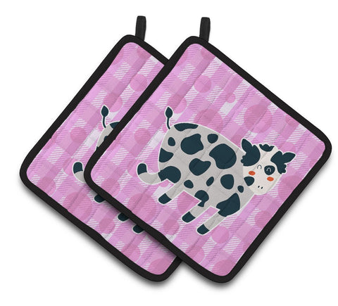 Buy this Cow on Pink Polkadots Pair of Pot Holders BB7162PTHD