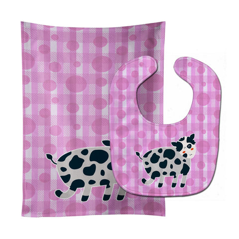 Buy this Cow on Pink Polkadots Baby Bib & Burp Cloth BB7162STBU