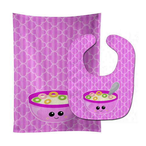 Buy this Pink Bowl of Cereal Baby Bib & Burp Cloth BB7163STBU