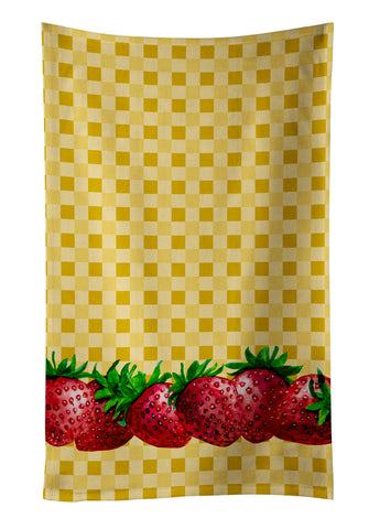Buy this Strawberries on Basketweave Kitchen Towel BB7182KTWL